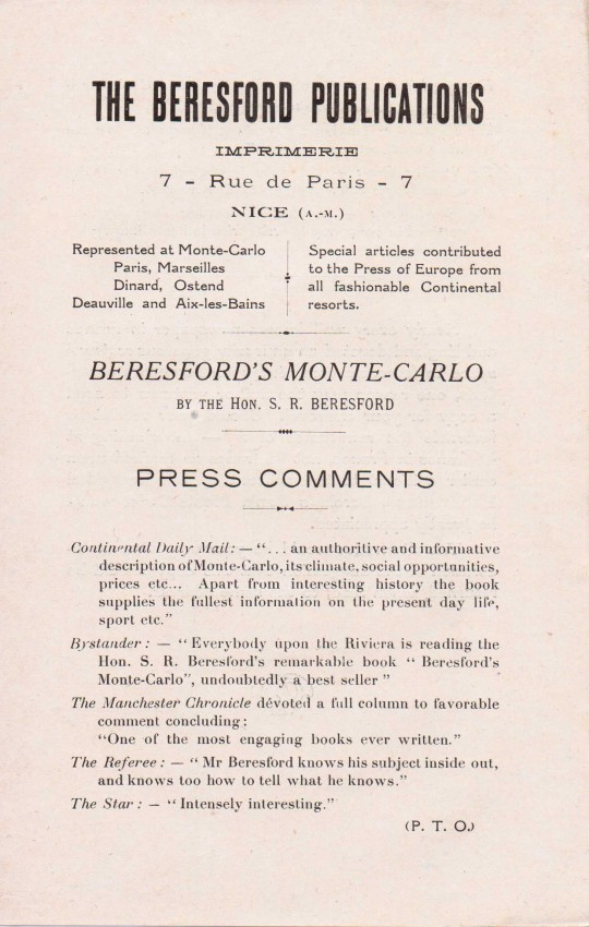 Front page of single sheet publication insert